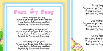 Taflen geiriau can cyfri Pum wy Pasg Cymraeg - welsh, cymraeg, pasg, canu, wyau