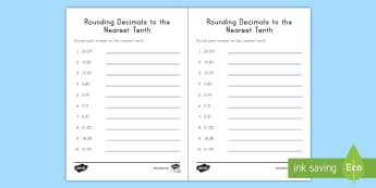 Rounding Decimals to the Nearest Tenth Activity Sheet - rounding, decimals, 5th grade, place value, tenths, worksheet