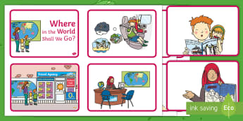 Exploring My World - Where in the World Shall We Go? Story Sequencing Cards - the travel agents, aistear, holiday, travel agency, story, book ,Irish