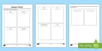 Summer Words Dictionary Activity - German  - Summer, German, Deutsch, MFL, Languages, DAF, DAZ, Sommer