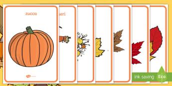L'autunno Poster - decorazione, poster, esibizione, parole, immagini, vocaboli, autunno, autunnale, materiale, scolasti