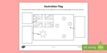 Australian Flag Activity Sheet - Examine, discuss, flags, australia, labelling,Australia