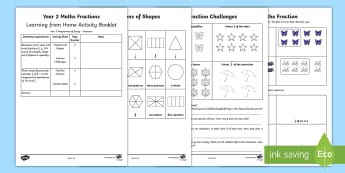 Year 2 Maths Fractions Home Learning Activity Booklet - maths, fractions, year 2, worksheets, fractions, y2, home, home learning, homework, parents, support
