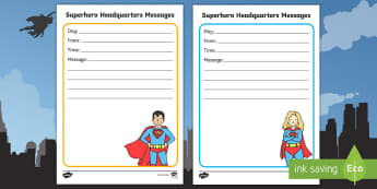 Superhero Headquarters Messages Activity Sheet - Marvel, DC Comics, Spider man, Super man, bat man, wonder woman, super girl, worksheet