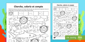 Fiche de numération, compter et colorier : Les fonds marins - compter, to count, colorier, fonds marins, under the sea,  poisson, étoile de mer, pieuvre, numéra