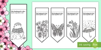 Spring Mindfulness Colouring Bookmarks English/Italian - Spring Mindfulness Colouring Bookmarks - mindfulness, colouring, bookmarks, colour, spring,mindfulln