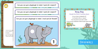 Ronald the Rhino Counting Spots  Busy Bag Prompt Card and Resource Pack - Maths, Number 2 Year Old, Number Counting, Twinkl Fiction, Rhinoceros, Leopard, Numerals, Malleable,
