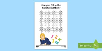 Missing Number Activity Sheet - worksheet, numeracy, counting, pattern, identify, SEN, dyscalculia