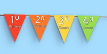 Banderitas - los números ordinales 1-31 - primero, segundo, decoración