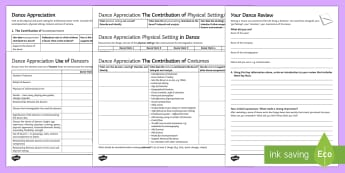 Dance Appreciation Activity Pack - review, performance, template, critique, camera, scaffold