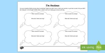 I'm Anxious Activity Sheet - Worksheet, worried, scared, SEN, SENCo, nervous, help, emotional