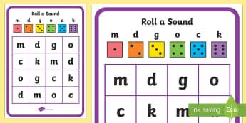 Roll a Sound Phase 2 m d g o c k Activity Mat - Roll a Sound Activity Mat Phase 2 m, d, g, o, c, k - phase 2, read, write, read, write, satipn, lett