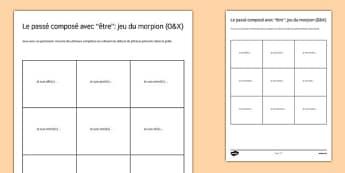 Le passé composé avec ETRE : jeu du morpion - french, Perfect
