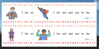 Alphabet Strips (Superhero) - Alphabet, Learning letters, Writing aid, Writing Area, Superhero, superheroes, hero, batman, superman, spiderman, special, power, powers, catwoman, liono, he-man