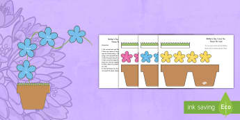 Mother's Day Craft: Flowers in Pot Card US English/Spanish (Latin) - Mothers Day Flowers in Pot Card Craft - mothers day, flowers, pot, craft, mom,