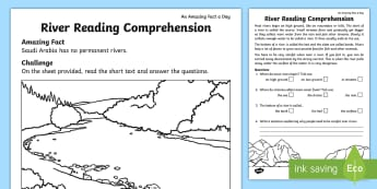 Rivers Reading Comprehension Activity Sheet - Amazing Fact Of The Day, activity sheets, amazing fact a day april, powerpoint, worksheet, starter,
