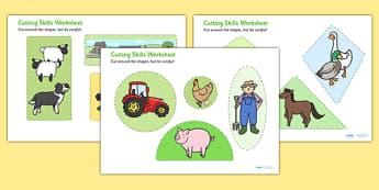 Farm-Themed Cutting Skills Worksheets - cut, fine motor skills