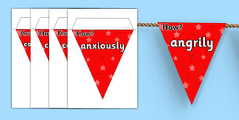 Adverbs On Bunting - adverbs, literacy, writing, reading, bunting