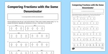 Comparing Fractions with the Same Denominators Activity Sheet - comparing, fractions, different, denominator, activity, worksheet