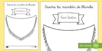 Ficha de actividad: Diseña tu mantón de Manila - San Isidro - San Isidro, Fiestas regionales, Madrid, chulapos, colorear, motricidad fina.,Spanish