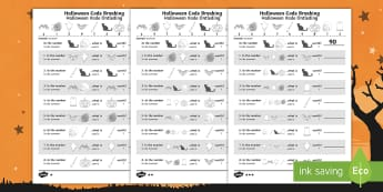 Halloween-Themed Place Value Code Breaking Activity Sheet English/Afrikaans - October, festival, numbers, math, nommers, wiskunde, EAL