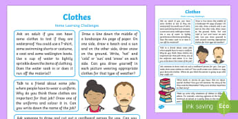 EYFS Clothes Home Learning Challenges Reception FS2 - EYFS, Early Years, home school links, homework, home learning, parents, home links, carers, clothes,