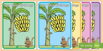 Monkey Themed Birthday Display Pack - monkeys, banana, bananas, birthdays Display, birthday chart, class birthdays,