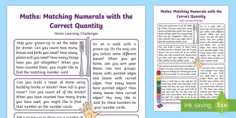 EYFS Maths: Sometimes Matches Numerals and Quantity Correctly Home Learning Challenges - Mathematics, Number,  Home School links, homework, quantity, parents, EYFS.