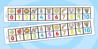 My 0 10 Number Track - 0-10 numberline, numberlines, number track, number line, 0-10 number track, maths aid, number sheet