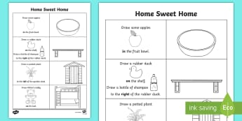 Home Sweet Home Spatial Awareness Activity Sheet - Exploring, My, World, Aistear, Story, house, kitchen, bedroom, bathroom, shed, living room, oral lan