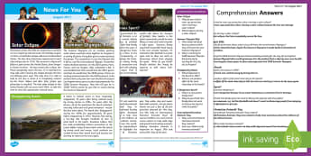 August 2017 News For You - News For You, Classroom Newspaper, School Newspaper, News Reporting, Journalistic Writing, Journalis