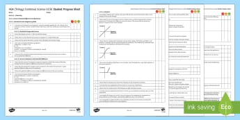 AQA (Trilogy) Unit 6.2 Electricity Student Progress Sheet - Student Progress Sheets, AQA, RAG sheet, Unit 6.2 Electricity, assessment