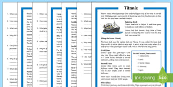 Titanic Differentiated Reading Comprehension Activity - Titanic, ship, Southampton, New York, first class, second class, third class, passengers, crew, trag
