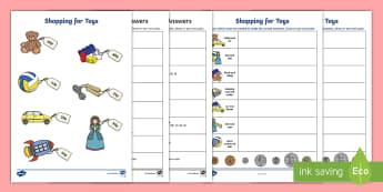 Shopping for Toys Activity Sheet - NI, KS1, Numeracy, shopping, value, price, money, toys, money handling, play, laminate, worksheet