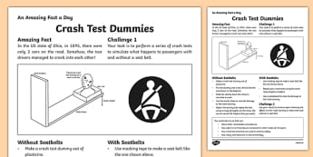 Crash Test Dummies Activity Sheet, worksheet