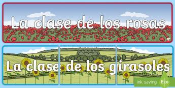 Pancarta: El nombre de la clase - Las flores  - Las flores, cartel de la clase, decoración, vuelta al cole, temática,Spanish