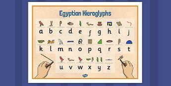 Egyptians Hieroglyphs Word Mat - egyptian, hieroglyphs, mat