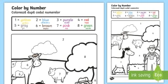 Farm Colour by Number English/Italian - Farm Colour by Numbers - colouring, colouring activities, count, numbes, colering, EAL