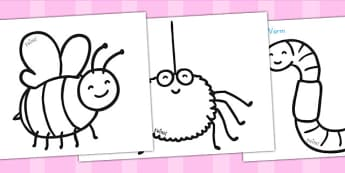 Minibeast Colouring Sheets - colour, drawing, colours, colour in