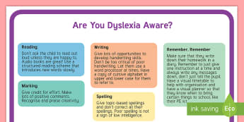 Are You Dyslexia Aware? Staffroom A4 Display Poster - Dyslexia, dyslexia awareness week, Dyslexia awareness, SpLd, Display