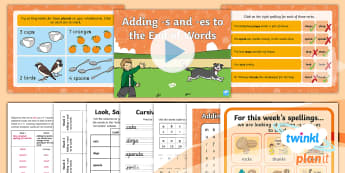 PlanIt English Y1 Term 3B W3: adding  -s and  -es Spelling Pack - Year 1, plurals, third person singular, verbs, syllable