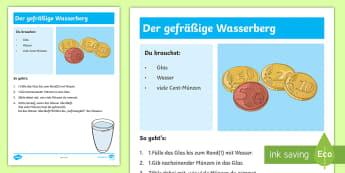 Experiment: Der gefräßige Wasserberg Arbeitsblatt - Sommer, Jahreszeiten, Experiment, Wasser, Münzen, Naturwissenschaft, summer, seasons, experiment, w