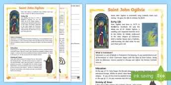 Saint John Ogilvie Differentiated Reading Comprehension Activity - Saints, Catholic, Catholicism, Glasgow, Scotland,Scottish