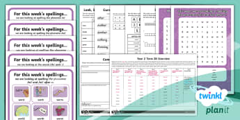 PlanIt English Y2 Term 2B Bumper Spelling Pack - Spellings Year 2, Term 2B, assess and review, Week 7, dictation, cloze procedure, spelling mistakes,