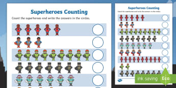 Superheroes Counting Sheet - superheroes, 1-1, one to one, super hero, counting sheet, counting worksheet, counting, themed counting sheet, numbers, numeracy, maths, cardinal