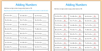 Adding Three One Digit Numbers Lesson 1 Number Facts to 10 Sheet