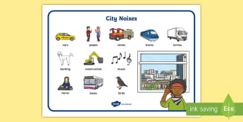 City Noise Word Mat - sounds, town, cars, bikes, lorries, construction