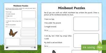 Minibeast Puzzles Writing Activity Sheet - World Around Us KS2 - Northern Ireland, minibeasts, mini beasts, organisms, world around us, creatur