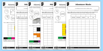 Different Representations Adventurer Blocks Differentiated Activity Sheet - minecraft, maths art, cross curricular, identify, represent, numbers, numbers in different ways