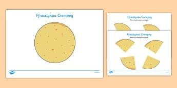 Pancake Fractions Activity Welsh - welsh, cymraeg, pancake, pancake day, fraction, math